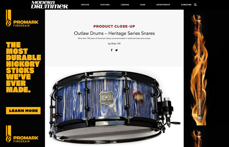 Outlaw Drums Heritage Series Snare